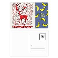 漫画の鹿の動物の赤い紙を切る バナナのポストカードセットサンクスカード郵送側20個