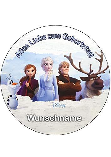 Für den Geburtstag ein Tortenbild-Wunschname, Zuckerbild mit dem Motiv: Frozen Die Eiskönigin, Essbares Foto für Torten, Tortenbild, Tortenaufleger Ø 20cm - Super Qualität, 0186w