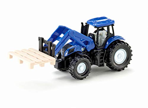 siku 1487, New Holland Traktor mit Palettengabel, Metall/Kunststoff, Blau, Inkl. Palette, Beweglicher Frontlader