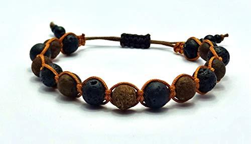 Braun Jaspis Naturstein Perlen Shamballa-Armband mit Lavastein Perlen, Unisex, verstellbar
