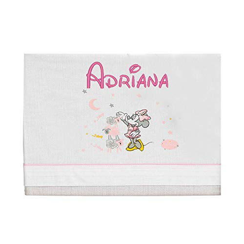 Sábanas Personalizadas para Cuna 60x120 cm Minnie Rosa - 100% Algodón - Bajera + Encimera Personalizada + Funda de Almohada.