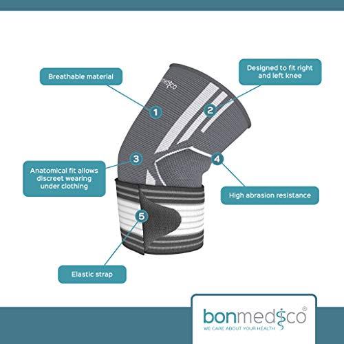 Bonmedico® Celo, die fixierbare Kniebandage sorgt für mehr Stabilität beim Sport und im Alltag, wirkt schmerzlindernd bei Gelenkkrankheiten wie Arthrose, schützt beim Laufen und Joggen, für Damen und Herren, rechts und links tragbar - 2