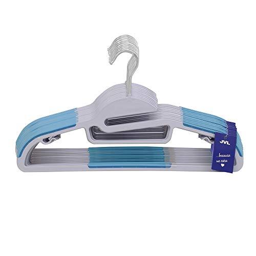 JVL Premium Range - Perchas Antideslizantes en Forma de S para Ahorrar Espacio, Paquete de 100, Color Azul, Talla única