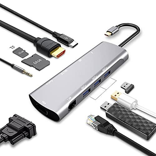 DAIFEIER Hub USB C 10 en 1, Adaptador USB C con HDMI 4K, USB-C Power Delivery, 1080P VGA, RJ45 Gigabit Ethernet, Lector de Tarjetas SD/TF, USB 3.0, 3.5mm de Salida de Audio para Macbook Pro y Otros