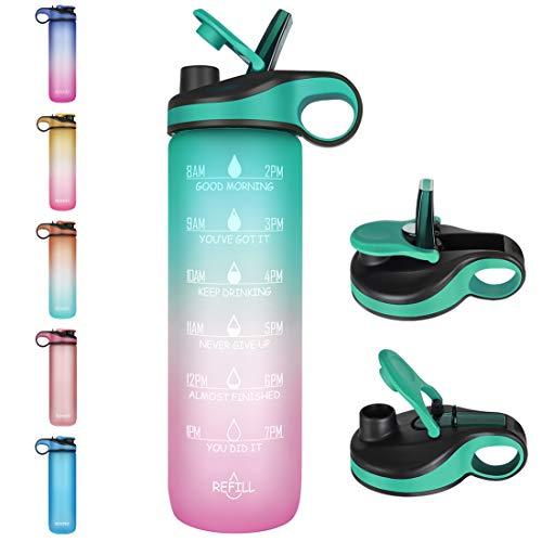 Opard Trinkflasche, 1L/32oz Wasserflasche mit Motivationszeitmarkierung und Strohhalm, BPA-Frei Tritan Sportflasche mit zwei Trinkmethoden für Fitnessstudio und Sport