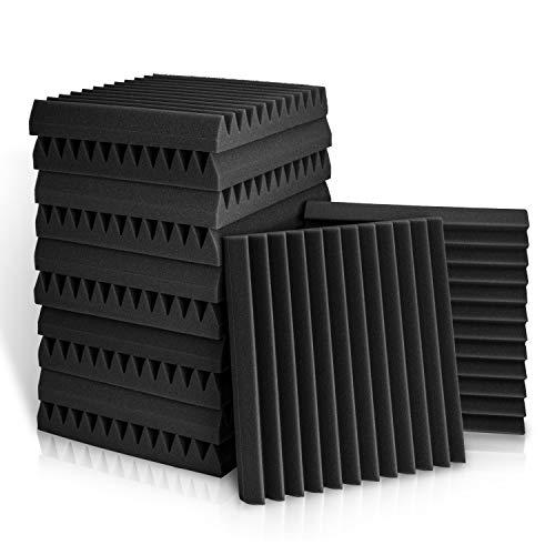 Paquete de 12 paneles acústicos, paneles de espuma acústica de 2 x 12 x 12 pulgadas, azulejos de cuña de estudio, cuñas de paneles de sonido, aislamiento acústico de...