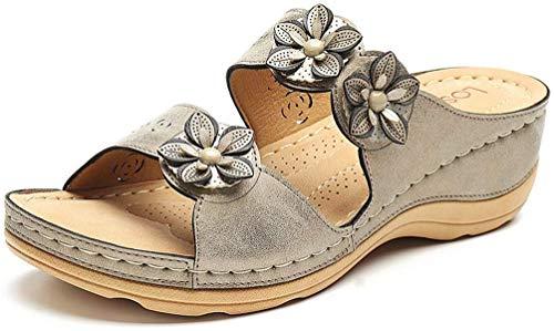 Dames Sandalen met sleehak Zomer Strandpantoffels Casual Comfort Platform Slip-on Slide Sandalen Antislip Peep-Toe Muilezelsandalen