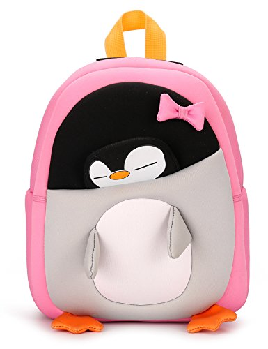 H HIKKER-LINK 3D Cartoon Penguin School Backpack Waterproof Mini Bag Pink