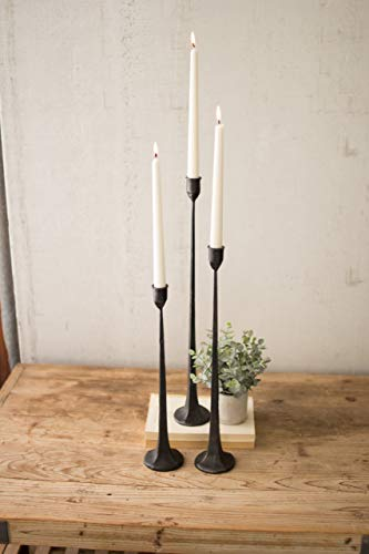 Kalalou Set of 3 Tall Cast Iron Taper Large Candle Holders