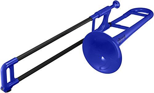 pBone 700639 Mini Trombone con Bocchino e Borsa, Blu (Blue)
