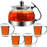 Monzana Teekanne 1,2L inkl 4er Set Teegläser Glaskanne mit Siebeinsatz herausnehmbaren Edelstahl Teesieb Hitzebeständig
