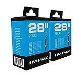 Impac 2 Paquets Cycle Tubes 28 ' / 700c 28-45c (28-47/622-635) Presta Valve - Pack...