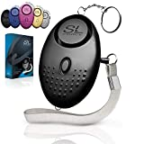 Personal Alarm Siren Song - 130dB Safesound Personal Alarms for Women Keychain with LED Light, Emergency Self Defense for Kids & Elderly. Security Sound Whistle Safety Siren (Black)