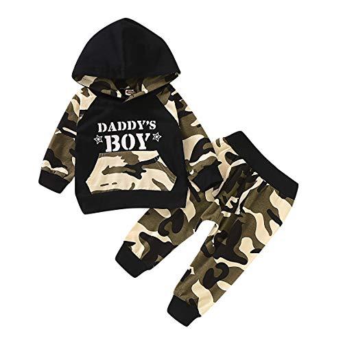 Carolilly 2 Pezzi Completo Bambino Ragazzi Felpa con Cappuccio Maglietta a Manica Lunga Stampa Militare + Pantaloni Bambino