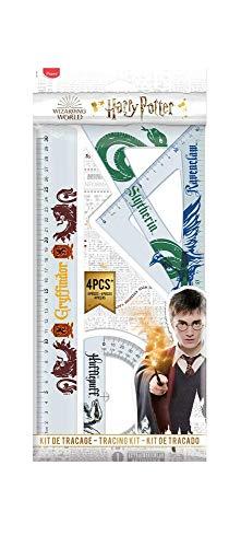Maped - Kit de traçage Incassable - 4 pièces - Règle 30 cm + Équerre 60° / 21 cm + Équerre 45° / 21 cm + Rapporteur 180° Base 12 cm - Harry Potter