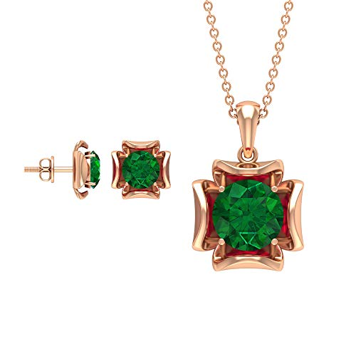 Rosec Jewels 18 quilates oro rosa redonda Green Esmeralda creada en laboratorio.
