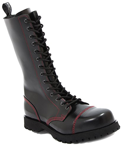 Boots & Braces - 14 Loch schwarz mit roter Naht, Stiefel Rangers Größe 44 (UK10)