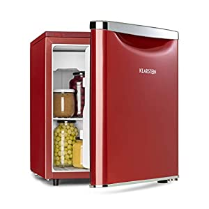 Klarstein Yummy - réfrigérateur congélateur, réfrigérant R600a, 41 dB, 1 x clayette métallique, bac collecteur, congélateur 3 L, réfrigérateur 44 L - 47 L, rouge