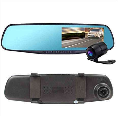 ZHY Registratore di Guida per specchietto retrovisore, Touchscreen da 4,8 Pollici 1080P HD Telecamera grandangolare 170 ° Monitoraggio parcheggio 24 Ore su 24 Loop rilevamento Video Gravity Sensing