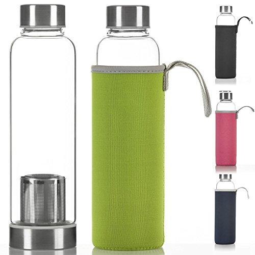 Dimono Deluxe Trinkflasche aus Glas 600ml - Sport Glasflasche Wasser-Flasche; bruchsicher mit Edelstahl Filter-Einsatz & Nylon Thermo-Hülle (Grün mit Filter)