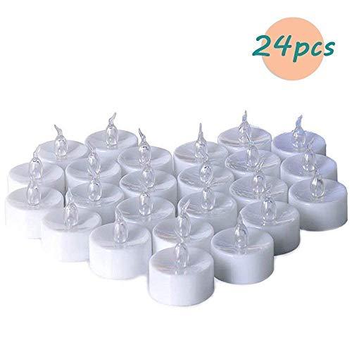 Candele LED Lumini Batteria, Fenvella Candele Elettriche senza Fiamma Bianco Caldo,Lunga Durata della Batteria per Decorazione di Casa Camera Natale Partito Matrimoni Compleanno (24Pz)