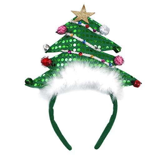 Lurrose Kerstmis Hoofdband Kerstboom met Bell Hoofddeksels Haarhoepels Headdress Kerst Vakantie Kostuum Haaraccessoires voor Volwassen Chidren Meisjes