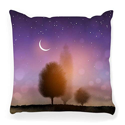 Throw Pillow Cover 18x18 Landscape Trees Night Beauty Black Blue Branch Dark Dream Field Full Green Image Ink Leaves Pillowcase
