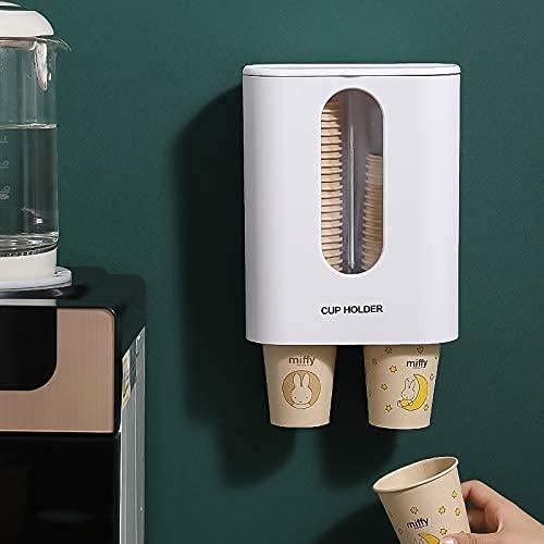 Kiload カップ ディスペンサー 紙コップホルダー カップスタンド コップ カップ ホルダー 収納 壁掛けタイプ ホーム オフィス (白-2連式)