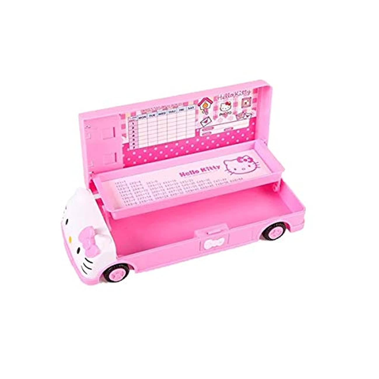 Hello Kitty Car Pencil Case with White Board+Pen with Eraser for Girl Two-Layer Student