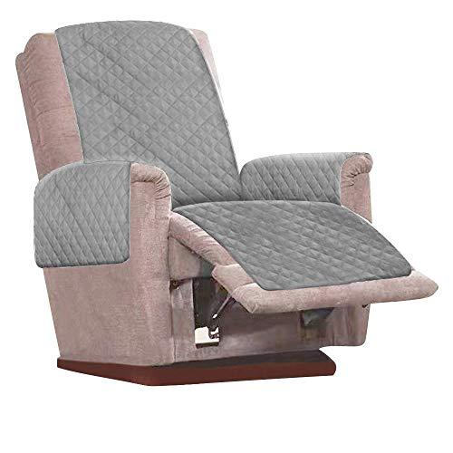 Keyohome - Funda para sillón relax reclinable, impermeable, para sofá y protección de muebles, 1 plaza, antimanchas, antiarañazos, 79 x 68 pulgadas (gris)