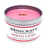 WOODEN WICK Candle - Wine Scented Soy Wax - Fall/Winter/Holiday Seasonal (Spiked Cider)