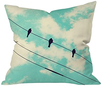 DENY Designs Shannon Clark 3 Little Birds Throw Pillow, 18 by 18 Inch