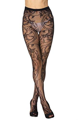 EROSPA® Netz-Strumpfhose mit Blumenmuster - Damen - schwarz - Einheitsgröße S-L