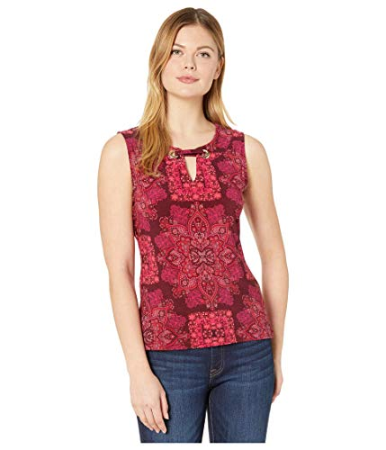 Tommy Hilfiger Women's Gromet Sleeveless-Knit Top, Wild Berry Multi, Medium