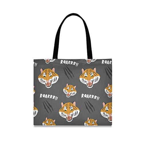 Linda bolsa de lona de tigre para mujer, grande, reutilizable con bolsillo interior, bolsa de compras, para gimnasio, playa, viajes al aire libre