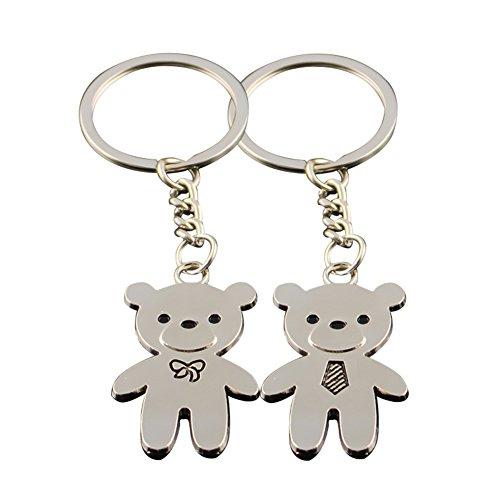 Haodou 2 Pares Llavero de Bear Anillo Key Chian Set para Amantes...