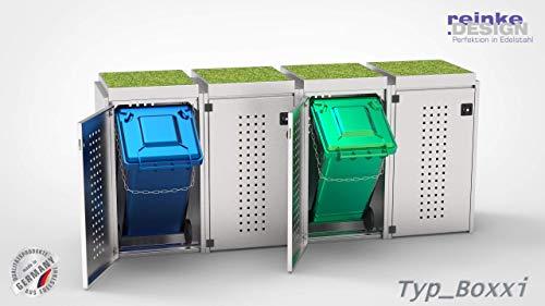 reinkedesign Mülltonnenbox Boxxi aus Edelstahl V2A Bausatz (4 x 240l, Pflanzwanne)