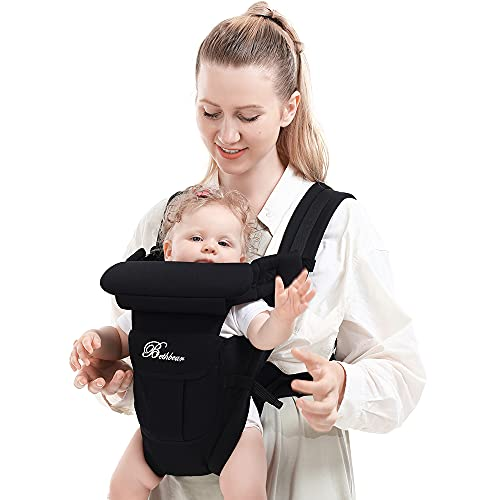 Baby Carrier, SpringBuds 4-in-1 Ergonomic Backpack Baby Wrap Carrier Front and Back for Newborns to Toddlers with Head Support (Black)