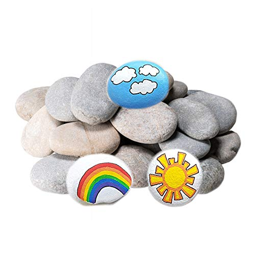DECORKEY River Rocks for Painting, DIY & Smooth Kindness, Rocks for Arts, Naturally Stone, 2-3inches 24PCS Perfect for Kids Party,Crafts, and Decoration