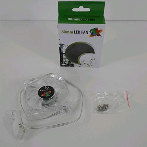 Logisys LT400GN - Ventilador para ordenador (4 LED, ultrabrillante, transparente, 80 mm), color verde