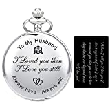SIBOSUN Personalized Engraved Pocket Watch Valentines for Husband | Anniversary Day for Men |...