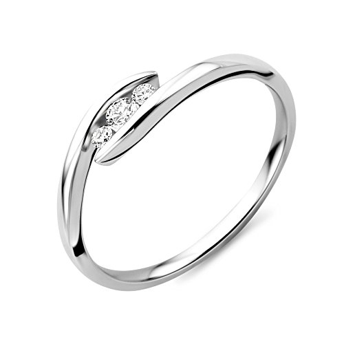 Miore Ring Damen Trilogy Weißgold 9 Karat / 375 Gold Diamant Brillianten 0.075 ct (58 (18.5))