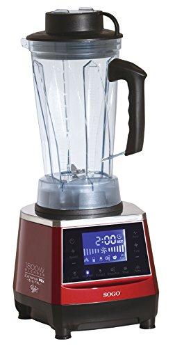 SOGO Batidora Digital de Uso Profesional y Alta Potencia (1.800W), Jarra de 2 litros de Tritan sin BPA, Multifunción, Hoja de Acero INOX de Larga Vida, Embrague Fuerte, Interruptor de Seguridad