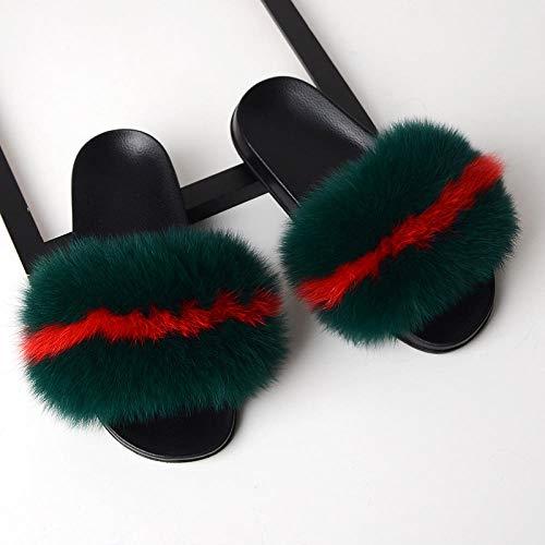 Perferct Mustang Schuhe für Damen,Sommer Anti-Fox-Dame, Haar-Flip 13, Tragen eines Wortes, gefangene rote Libelle PVC Sohle Home Wear Party Geschenk-44-45 (27,5 cm)_Ö