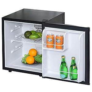 HOMCOM Mini Frigorífico Mini Bar Volumen 50 L Mini Nevera con Estante Extraíble Ajustable LED Ruido Mínimo de Eficiencia Energética 43x48x51 cm Negro