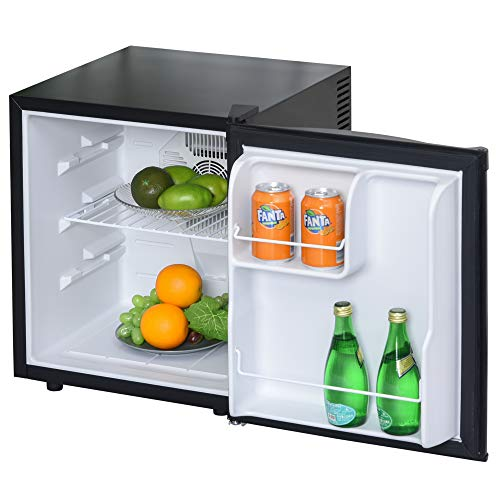 HOMCOM Mini Frigorífico Mini Bar Volumen 50 L Mini Nevera con Estante Extraíble Ajustable LED Ruido Mínimo de Eficiencia Energética 43x48x51 cm Negro
