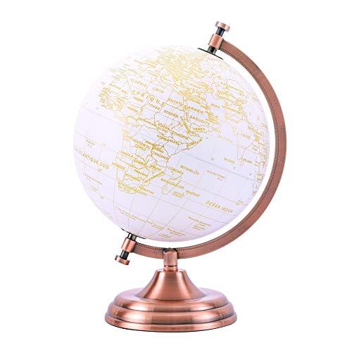 EXERZ 20cm Globe d'or Couleur Métallique - Décoration De Bureau Éducative, Géographique Et Moderne - Arc Et Base en Métal, Revêtus De Couleur Dorée
