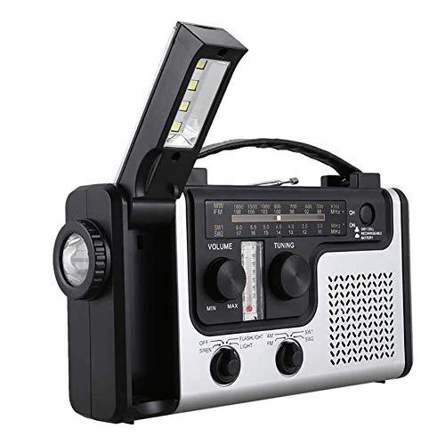 Radio Solaire, d'urgence Radio Manivelle Solaire AM/FM Radi Radio Portable Intégré Haut-Parleur Support LED Table d'urgence Lampe De Poche Lampe Therm pour Activies Extérieur
