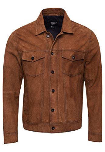 Superdry Herren Suede Highwayman Trucker Jacke, Braun (Burnt Brown 0ZQ), Large