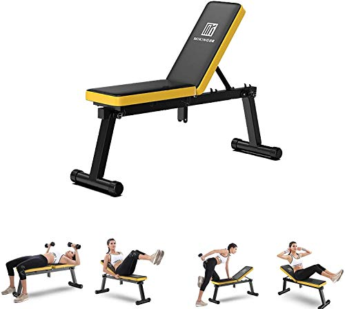 AINH Hantelbänk kommersiell hem fitness justerbar viktbänk, finare form 3-i-1 hopfällbar viktbänk, styrketräning, lutning, nedgång, platta träningsbänkar för lyftning, bröstpress, dippar